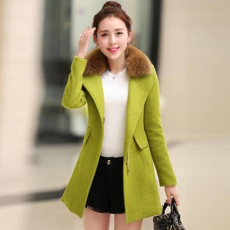 JEANE-SUNP 2016秋冬新款小香风貉子毛领呢外套女韩版中长款修身羊毛呢子大衣
