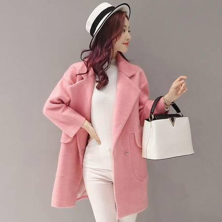 JEANE-SUNP 2016年冬季新款韩版西装领中长款双排扣简约修身毛呢外套女大衣
