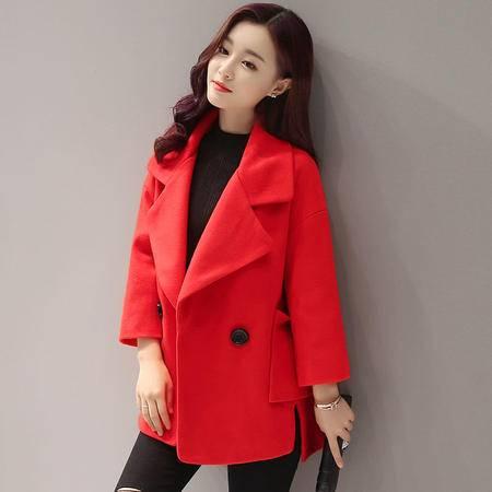 JEANE-SUNP 2016年冬季新款韩版西装领长袖大口袋两粒扣不规则短款毛呢外套女