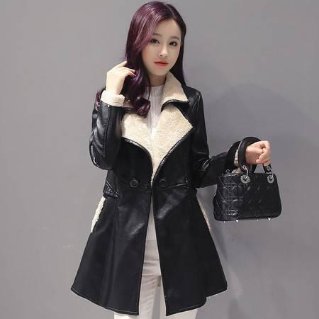 JEANE-SUNP 2016韩版秋冬新款女装pu皮衣加绒羊羔毛中长款修身显瘦皮衣外套女