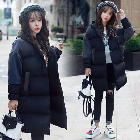 JEANE-SUNP 2016冬季新款韩版女装大码加厚连帽棉服韩国毛呢拼接棉衣女中长款
