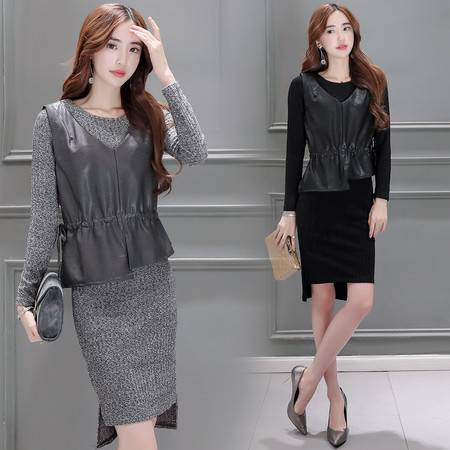 JEANE-SUNP 2016秋季秋装新款女装韩版长袖套装裙子假两件套修身针织连衣裙潮