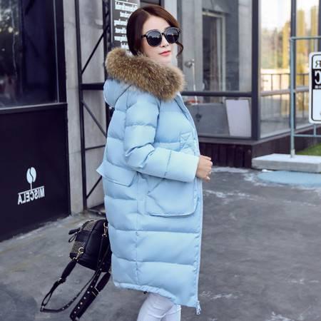JEANE-SUNP 2016冬装新款韩版真貉子毛羽绒服女中长款加厚修身保暖带毛领外套