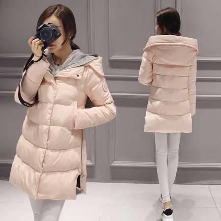 JEANE-SUNP 2016冬季新品女士羽绒服 中长款加厚带针织帽羽绒外套女潮