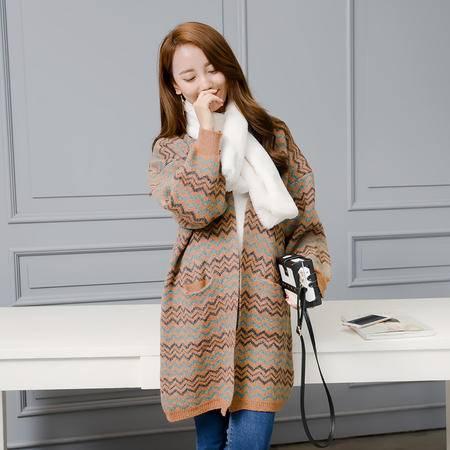 JEANE-SUNP 2016年秋季长袖开衫中长款修身个性印花韩版针织衫