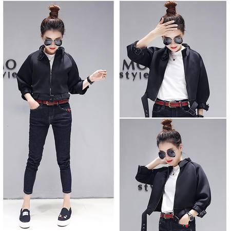 JEANE-SUNP 2016秋季欧货韩版新品女装立领拉链扣带时尚瘦身黑色小外套