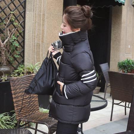 JEANE-SUNP 2016年冬季立领街头纯色韩版中长款修身棉服