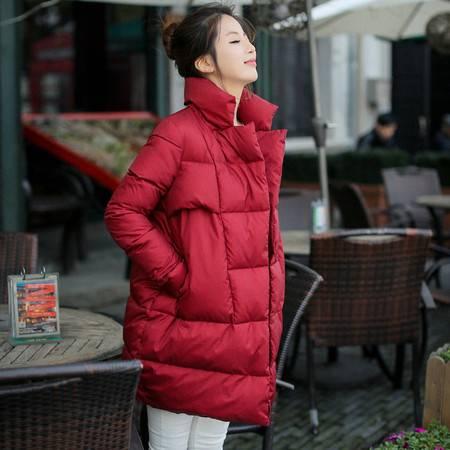 JEANE-SUNP 2016年冬季中长款长袖纯色宽松修身棉服