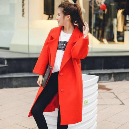 JEANE-SUNP 2016年冬季翻领中长款长袖修身纯色韩版毛呢外套