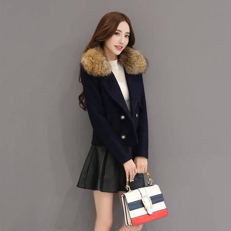JEANE-SUNP 2016年冬季仿呢料羊毛毛呢外套纯色V领单排扣常规长袖修身棉