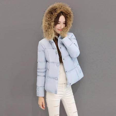 JEANE-SUNP 2016冬季新款韩版修身棉服加厚保暖大毛领短款加厚棉衣外套女