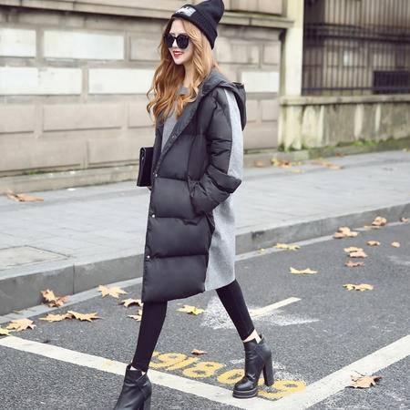 JEANE-SUNP2016新品落肩时尚气质棉衣外套 秋冬拼接中长款棉衣女棉服外套