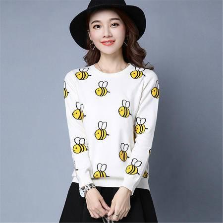 JEANE-SUNP 2016年秋季时尚长袖直筒针织衫圆领长袖蜜蜂毛衣