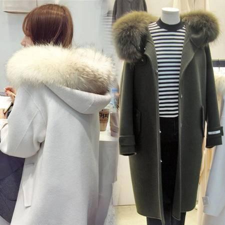 JEANE-SUNP 2016年冬季连帽中长款长袖单排扣直筒毛呢外套配高仿毛领