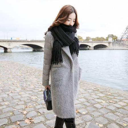 JEANE-SUNP 2016年冬季长袖中长款棉衣暗扣西装领时尚拼接棉服