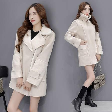 JEANE-SUNP 2016年冬季纯色简约时尚潮流拉链通勤短外套长袖大衣
