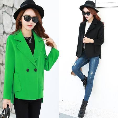 JEANE-SUNP 2016秋冬季新款韩版短款大码呢子外套长袖妮子短装上衣