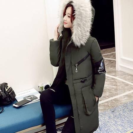 JEANE-SUNP 2016年冬季长袖棉服纯色通勤拉链修身中长款棉衣