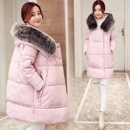 JEANE-SUNP 2016年冬季中长款长袖加厚拉链连帽纯色棉衣修身时尚口袋棉服