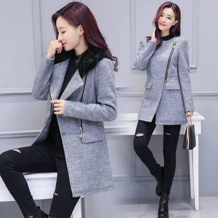 JEANE-SUNP 2016秋冬季新款大码女装羊绒毛呢外套韩版中长款修身毛领呢子大衣
