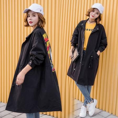 JEANE-SUNP 2016秋季新款女装韩版修身中长款长袖时尚抽带印花风衣