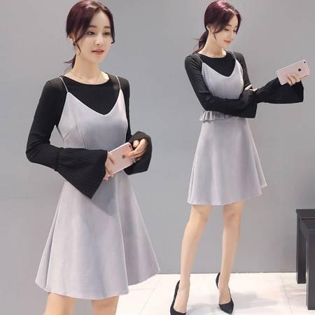 JEANE-SUNP 2016秋季新款韩版OL气质连衣裙套装大码女装显瘦背心裙外套两件套