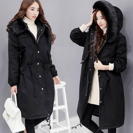 JEANE-SUNP 2016冬季新款女装修身气质连帽纯色拉链长袖中长款棉衣配高仿毛领