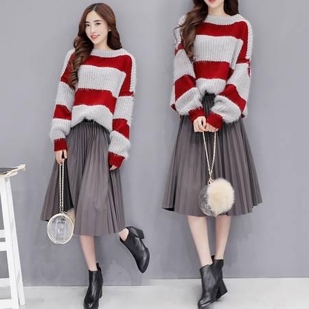 JEANE-SUNP 2016秋装套装裙两件套半身裙长袖中长款显瘦条纹灯笼袖褶皱韩版潮