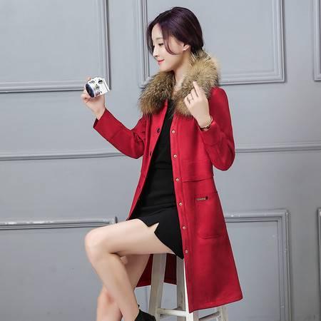 JEANE-SUNP 2016年冬季长袖中长款修身纯色圆领单排扣外套配真毛领