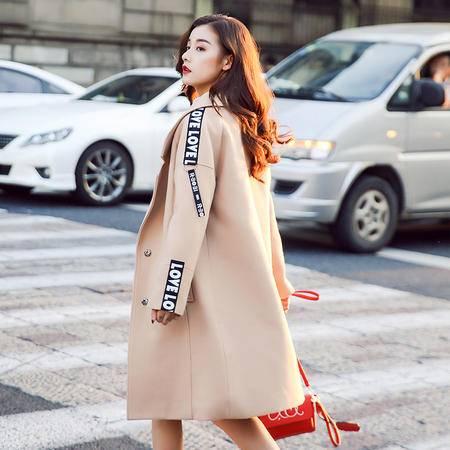 JEANE-SUNP 2016年冬季纯色暗扣西装领长袖直筒时尚毛呢外套