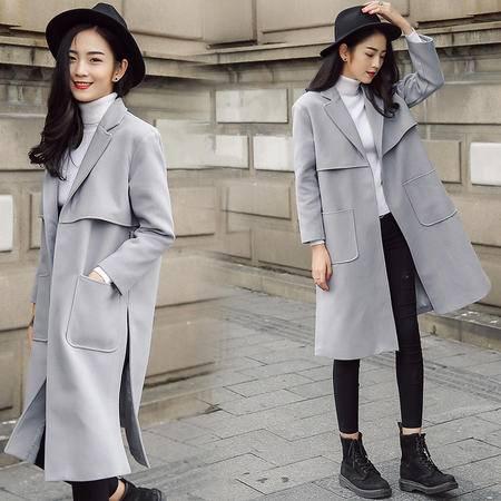 JEANE-SUNP 新款女士中长款西装领纯色风衣女秋冬装时尚长袖呢子大衣女外套潮