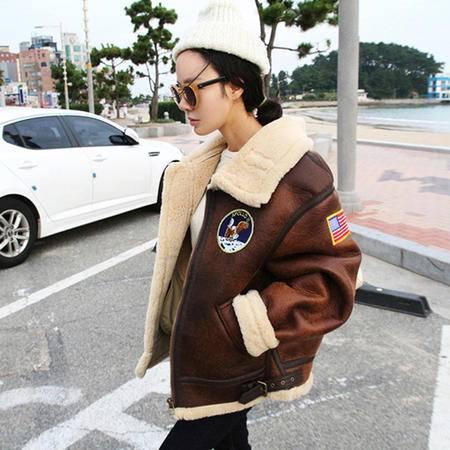 JEANE-SUNP 2016年冬季长袖加厚宽松短外套纯色时尚百搭拉链鹿皮绒外套