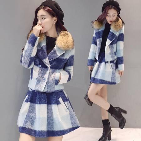 JEANE-SUNP 2016年冬季套装时尚翻领经典格子显瘦高腰套裙