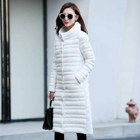 JEANE-SUNP 2016冬装新款时尚长款羽绒服女明星气质款修身长羽绒外套大衣防寒
