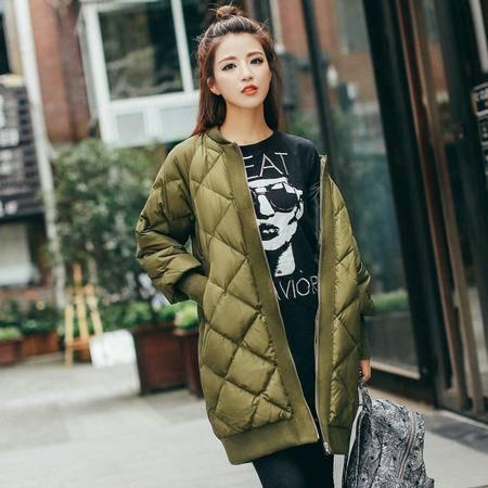 JEANE-SUNP 2016年冬季百搭时尚潮流气质修身拉链长袖中长款羽绒服