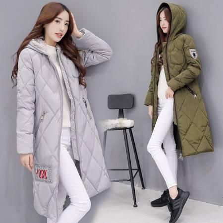 JEANE-SUNP 2016冬装新款韩国羽绒棉服女长款连帽棉袄加厚保暖棉衣外套
