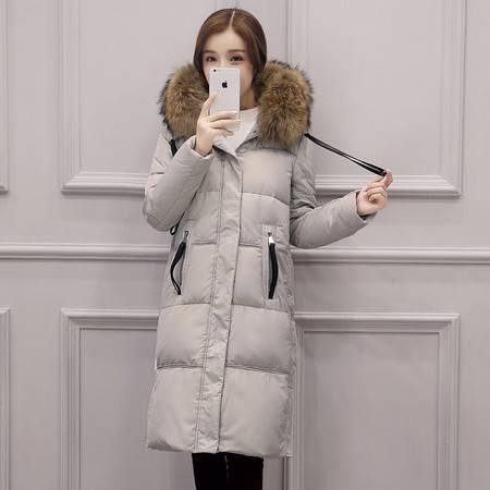 JEANE-SUNP 2016韩版新款奢华真狐狸大毛领加厚保暖过膝长款羽绒服女冬装外套