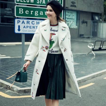 JEANE-SUNP 2016冬装韩版大翻领茧型刺绣毛呢大衣女加厚韩范羊羔毛外套中长款