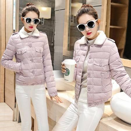 JEANE-SUNP 2016年冬季扣口袋修身短款长袖单排扣纯色棉衣/棉服