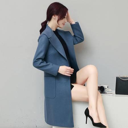 JEANE-SUNP 2016年冬季百搭时尚潮流修身中长款长袖纯色女装毛呢休闲外套女