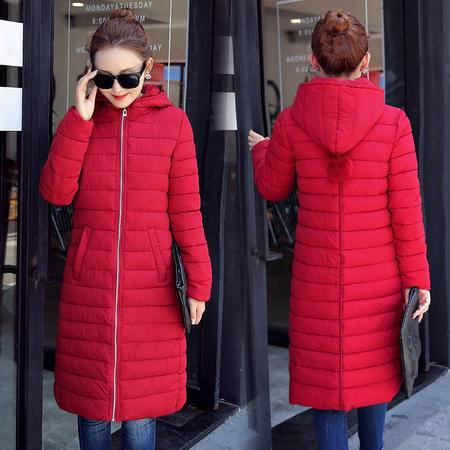 JEANE-SUNP 2016年冬季中长款长袖口袋时尚修身棉衣纯色连帽拉链棉服