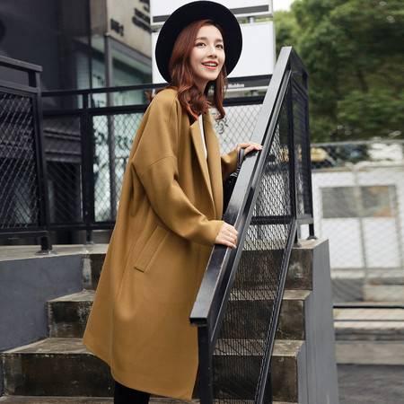 JEANE-SUNP 2016年冬季长袖中长款时尚羊毛纯色通勤拉链毛呢外套