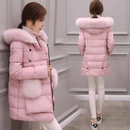JEANE-SUNP 2016年冬季新款韩版棉服中长款大码修身加厚大毛领女棉衣斗篷棉袄
