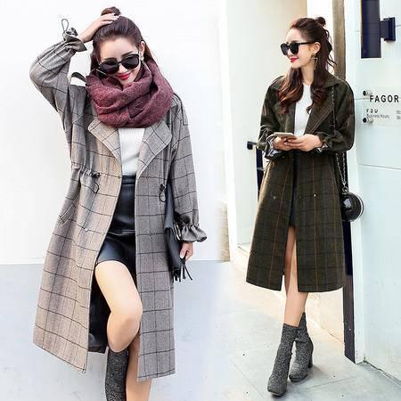 JEANE-SUNP 2016年冬季中长款长袖修身西装领时尚百搭毛呢外套