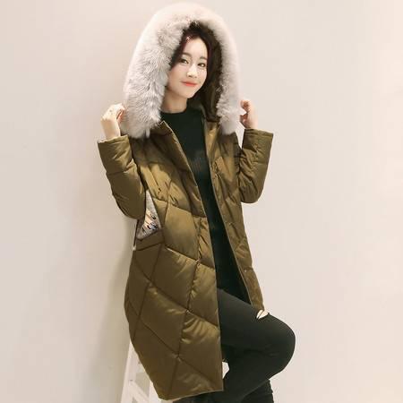 JEANE-SUNP 2016年冬季加厚棉衣长袖纯色通勤拉链连帽时尚棉服