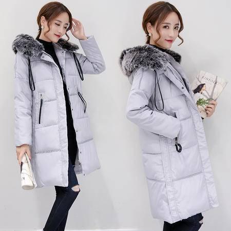 JEANE-SUNP 2016年冬季棉衣纯色甜美拉链连帽加厚中长款棉服