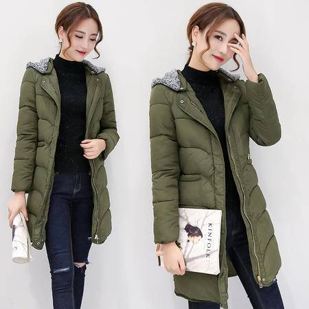 JEANE-SUNP 2016年冬季加厚中长款修身显瘦长袖拉链连帽甜美纯色棉衣棉服