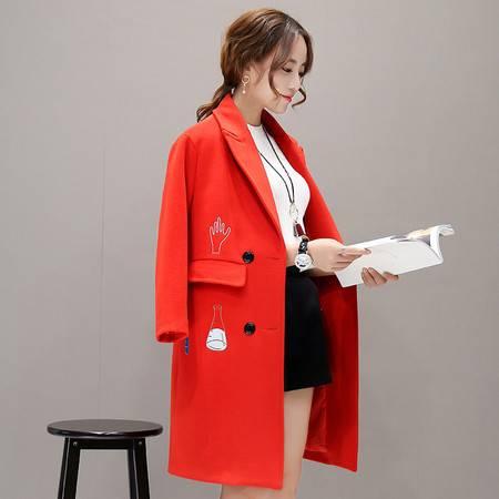 JEANE-SUNP 2016秋冬女装新品加厚韩版显瘦毛呢外套修身大码中长款呢子大衣