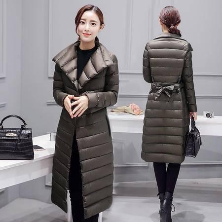 JEANE-SUNP 2016冬装款欧美女装冬季新款时尚潮百搭女装羽绒服配腰带