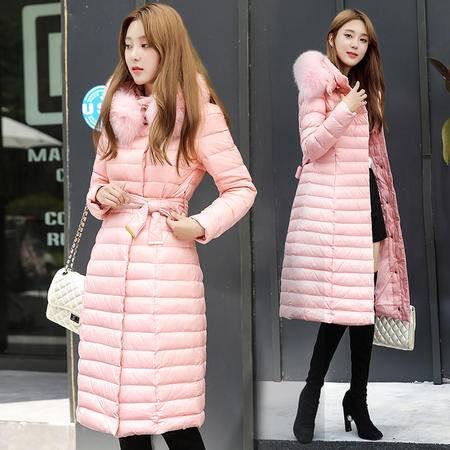 JEANE-SUNP 2016冬装韩版新款收腰带修身连帽加大码外套大毛领羽绒服女中长款